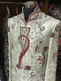 Cream Heavy Sherwani W/ Red Accents