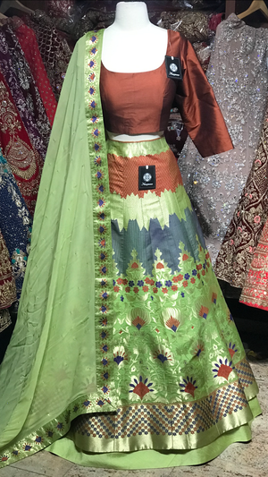 Green Brown Size 38 Banarasi Lehenga
