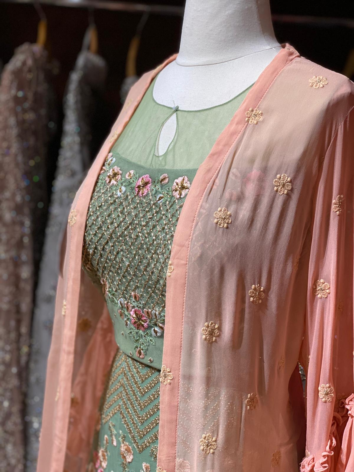 Sage Green Cocktail Party Wear Lehenga Size 38