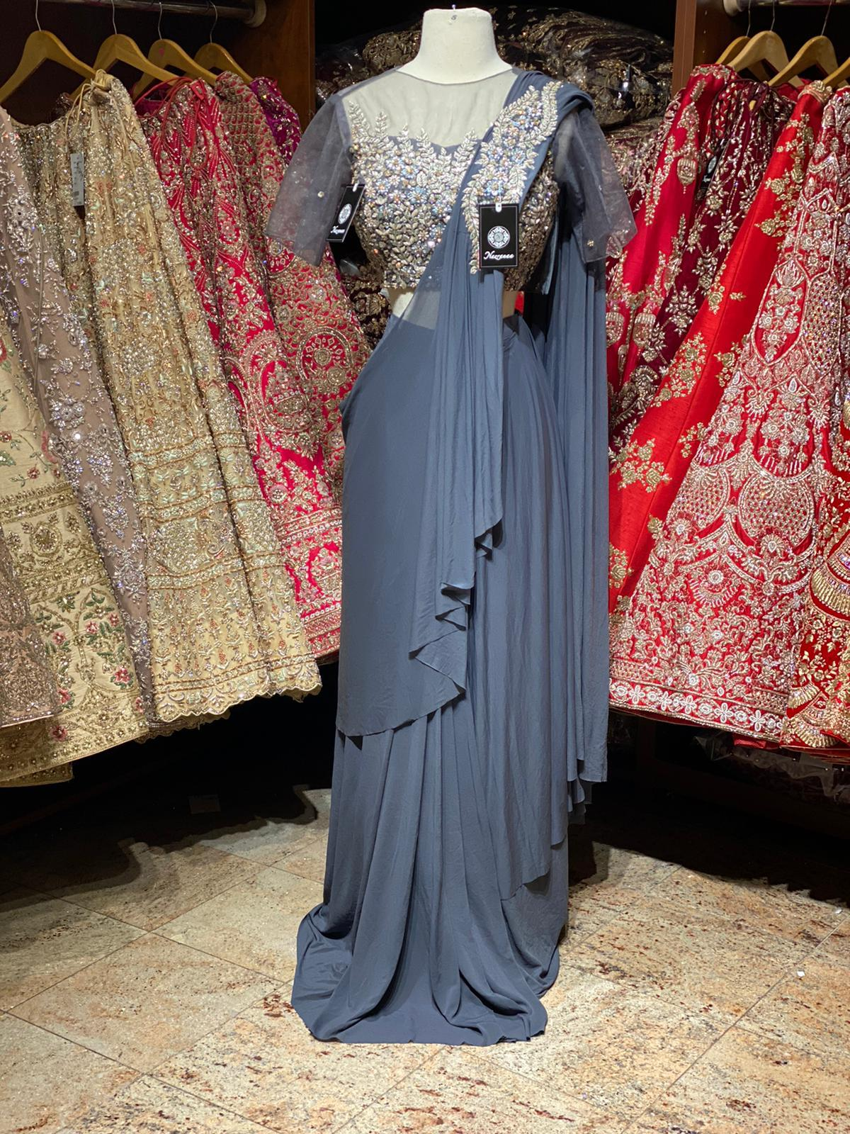 Grey Pre-Stitched Saree W/ Readymade Blouse PSS-5