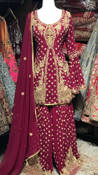 Red Size 42 Bridal Gharara Suit