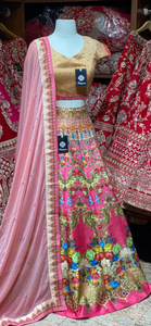 Watermelon Pink Party Wear Lehenga PWL-114