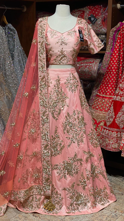 Peach Silk Bridal Lehenga