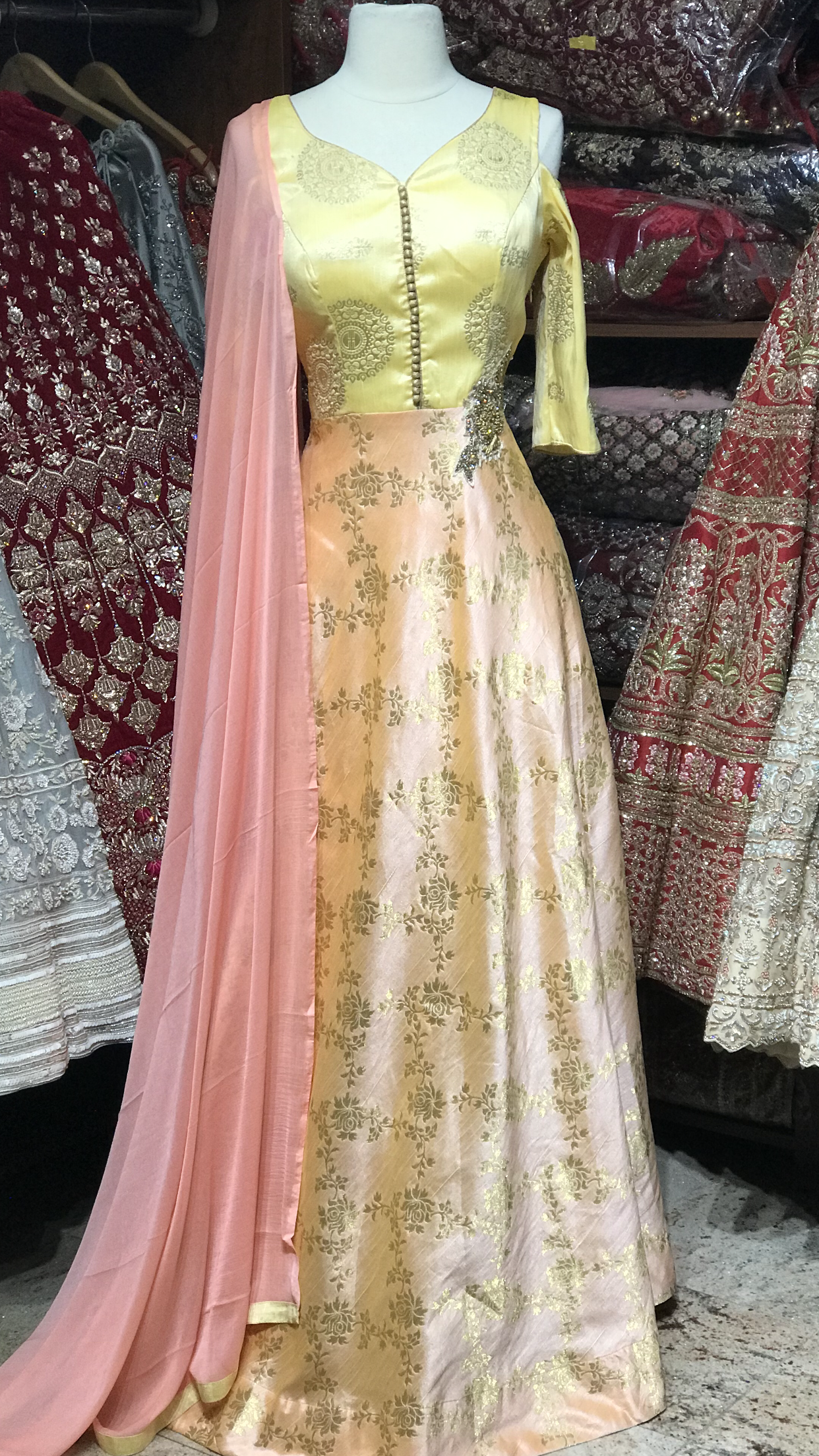 Yellow Peach XXL Anarkali