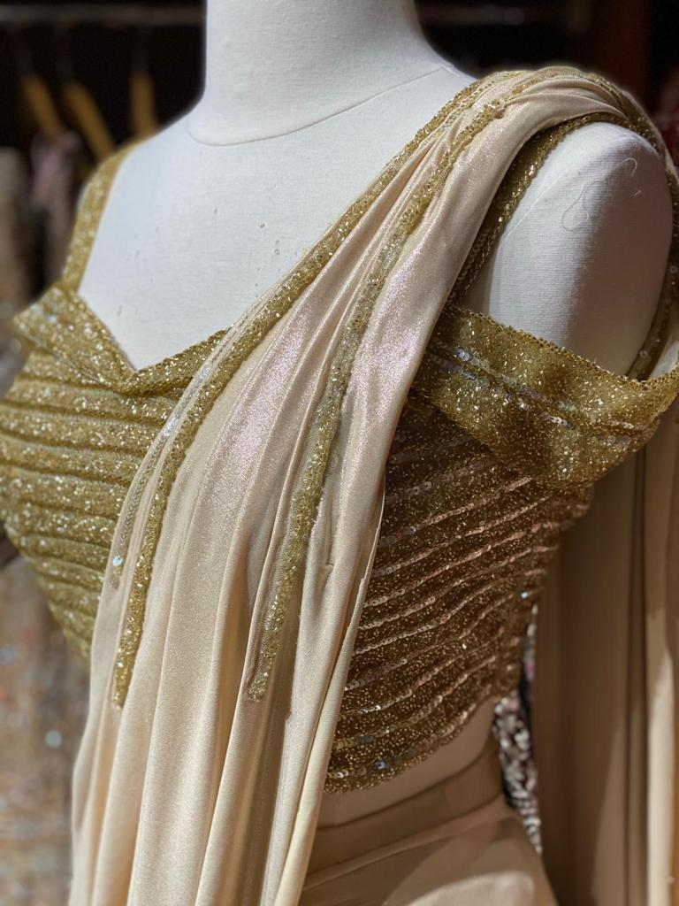 Glamorous Golden Pre-Stitched Saree W/ Readymade Blouse PSS-22