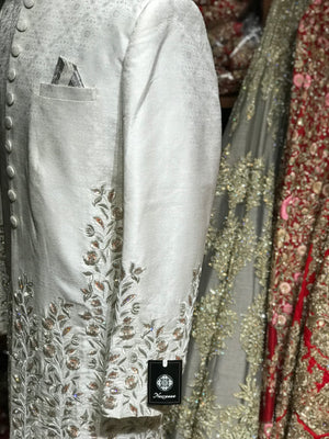 White Sherwani W/ Peach Accents