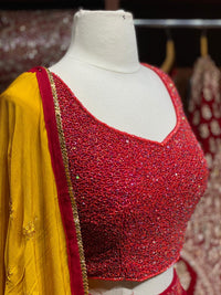 Ruby Red Party Wear Lehenga PWL-123