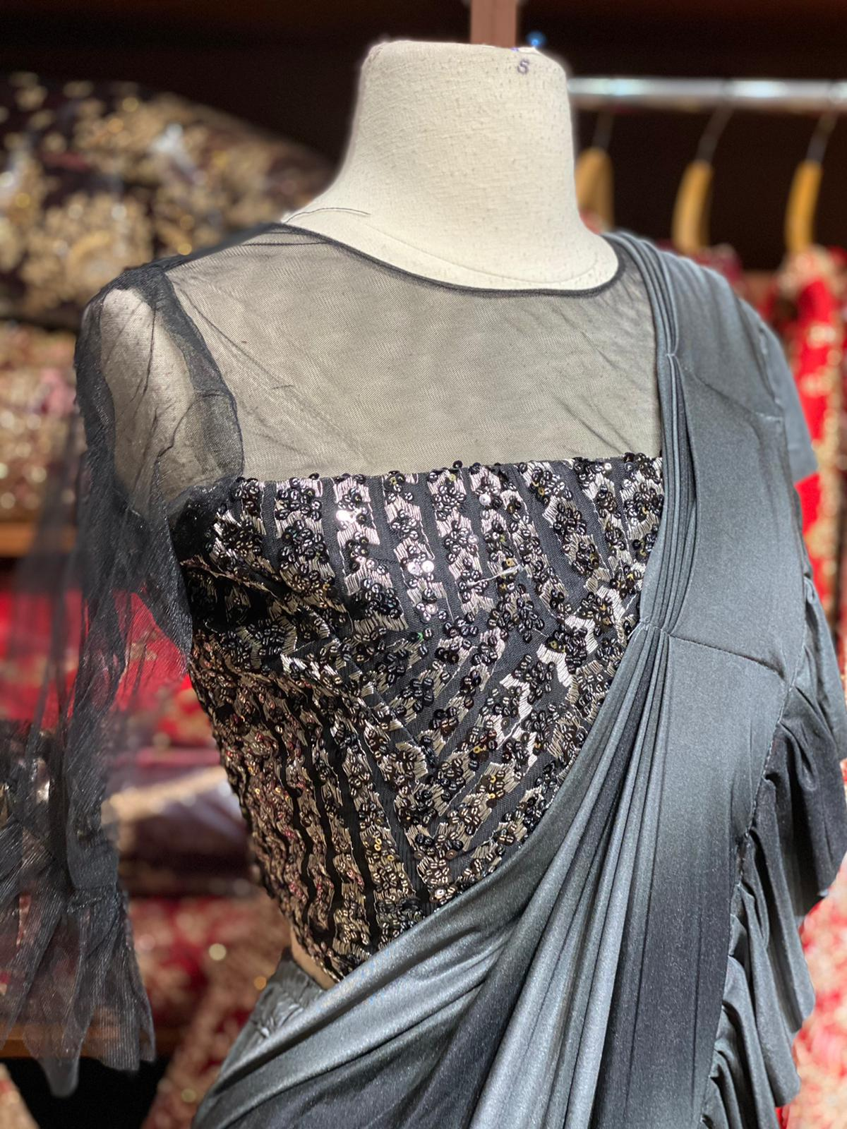 Grey Pre-Stitched Saree W/ Readymade Blouses PSS-3
