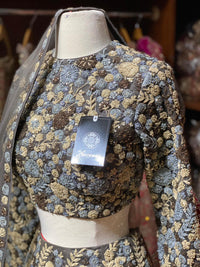 Grey Floral Embroidery Size 40 Bridal Lehenga