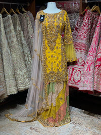 Amber Yellow Party Wear Suit Collection PWS-018