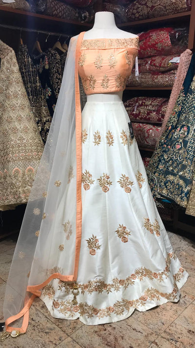 Peach Size 38 Off Shoulder Lehenga