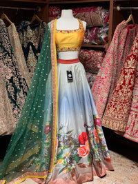 Yellow & Grey Digital Printed Party Wear Lehenga PWL-075