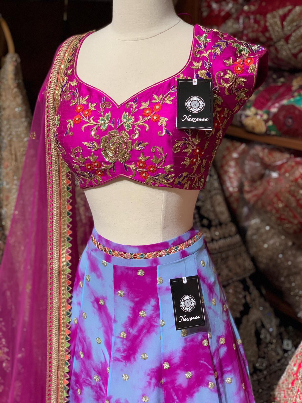 Hot Pink and Purple Tie & Dye Party Wear Lehenga PWL-077