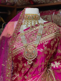 Hot Pink Pure Silk Banarasi Bridal Saree BBS-004