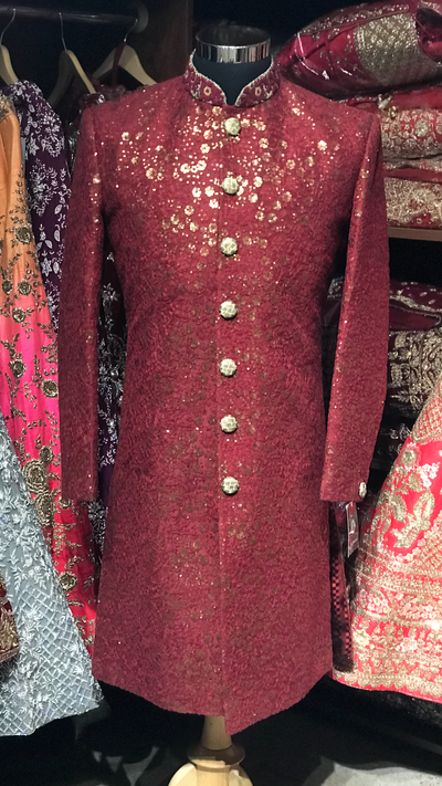 Maroon Sequin Embroidery Sherwani