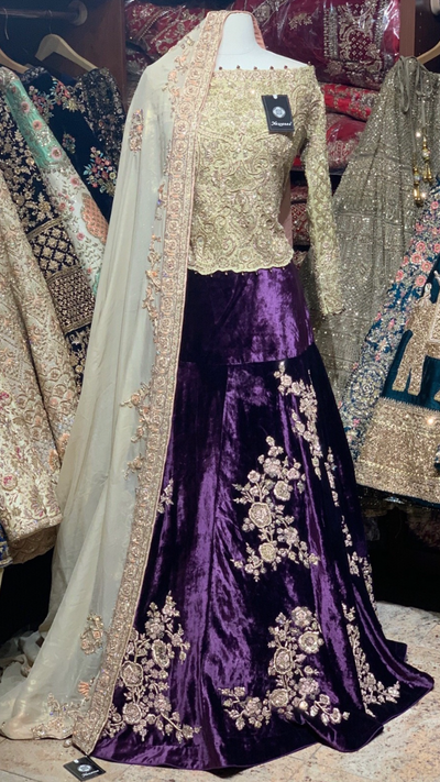 Purple Off Shoulder Lehenga