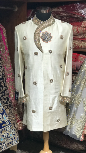 Cream Sherwani W/ Red Accents