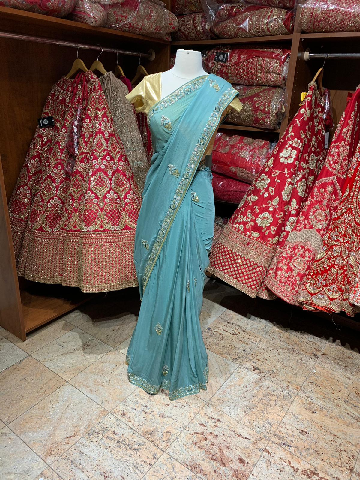 Sea Green Saree PWS-054