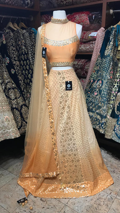 Orange Ombre Brocade Lehenga