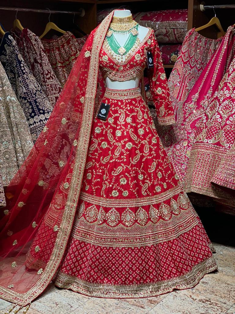 Bright Red & Gold Bridal Wear Lehenga BWL-085