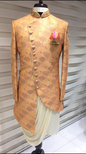 Peach Sherwani w/ Draped Kurta