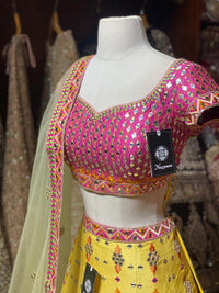 Pastel Yellow Bridal Wear Lehenga BWL-079