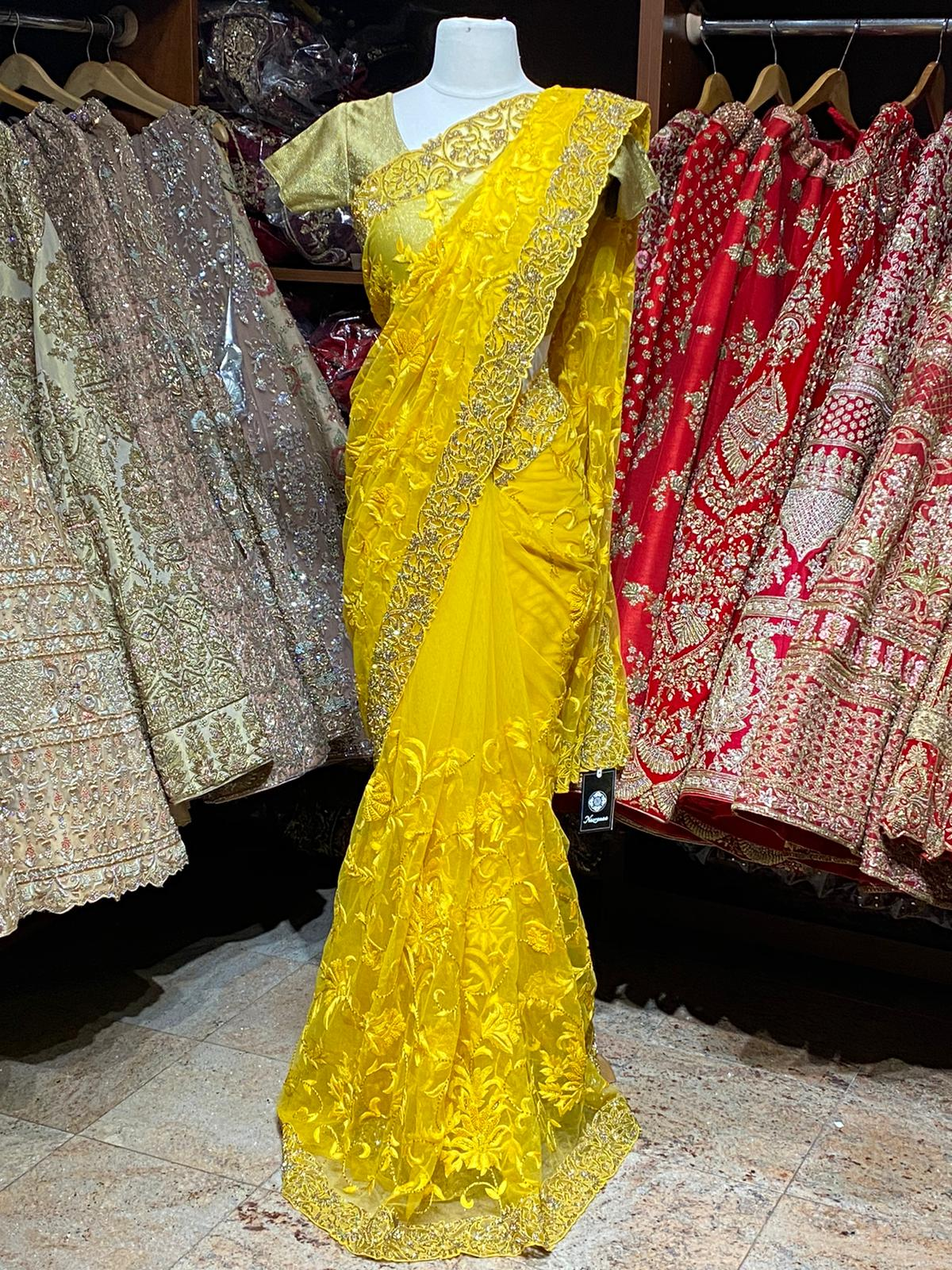 Bumblebee Yellow Net Saree PWS-002