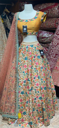 Multicolor Yellow Floral Party Wear Lehenga PWL-064
