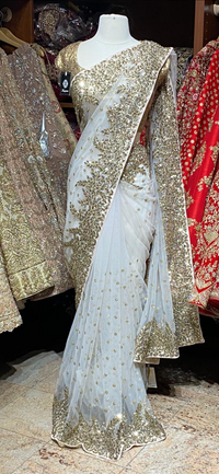 White Net Saree PWS-001