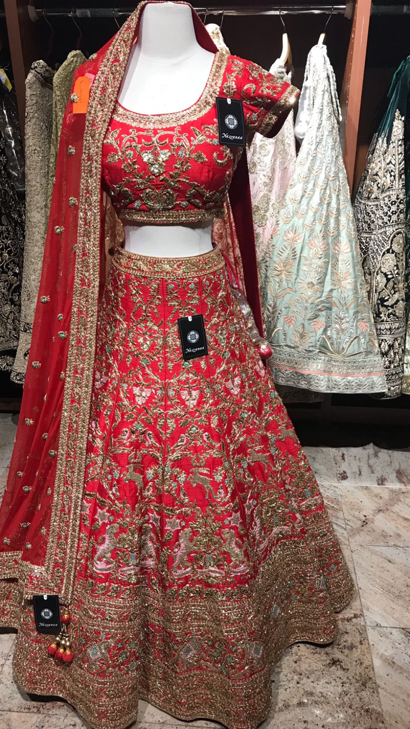 Red Size 38 Silk Bridal Lehenga