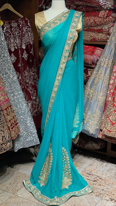 Teal Georgette Saree