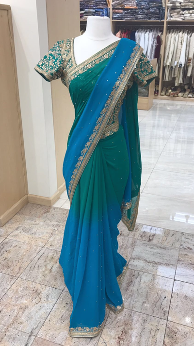 Ombre Blue Bridesmaids Saree