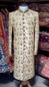 Gold Floral Embroidery Sherwani