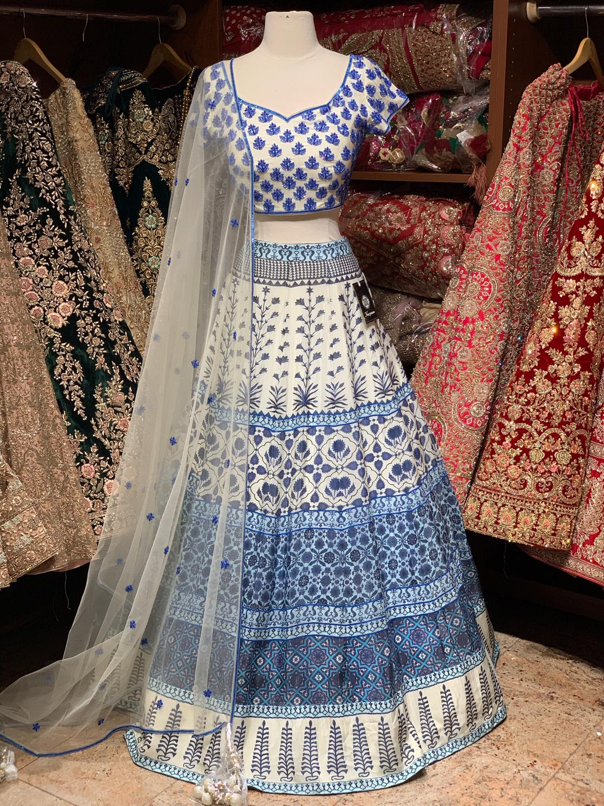 Elegant White & Blue Party Wear Lehenga PWL-073