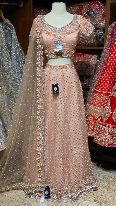 Blush Crystal Work Lehenga