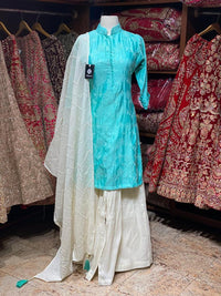 Sky Blue & White Party Wear Suit Collection PWS-042