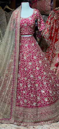 Ruby Red Bridal Wear Lehenga BWL-073