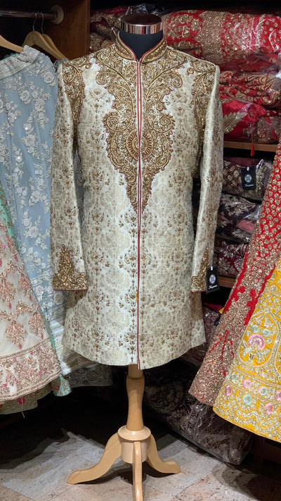 Ivory Red Size 40 Wedding Sherwani