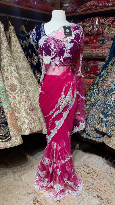 Net and Velvet Saree
