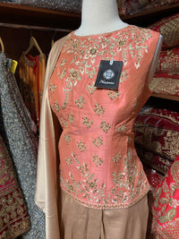 Peach Gold Size 42 Dhoti Suit