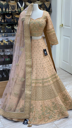 Peach Size 38 Long Sleeve Lehenga