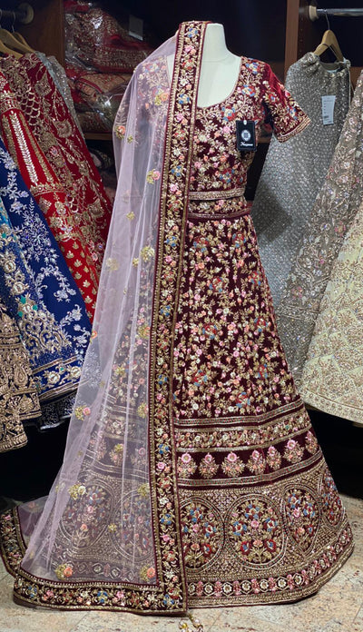 Maroon Multicolor Embroidered Lehenga