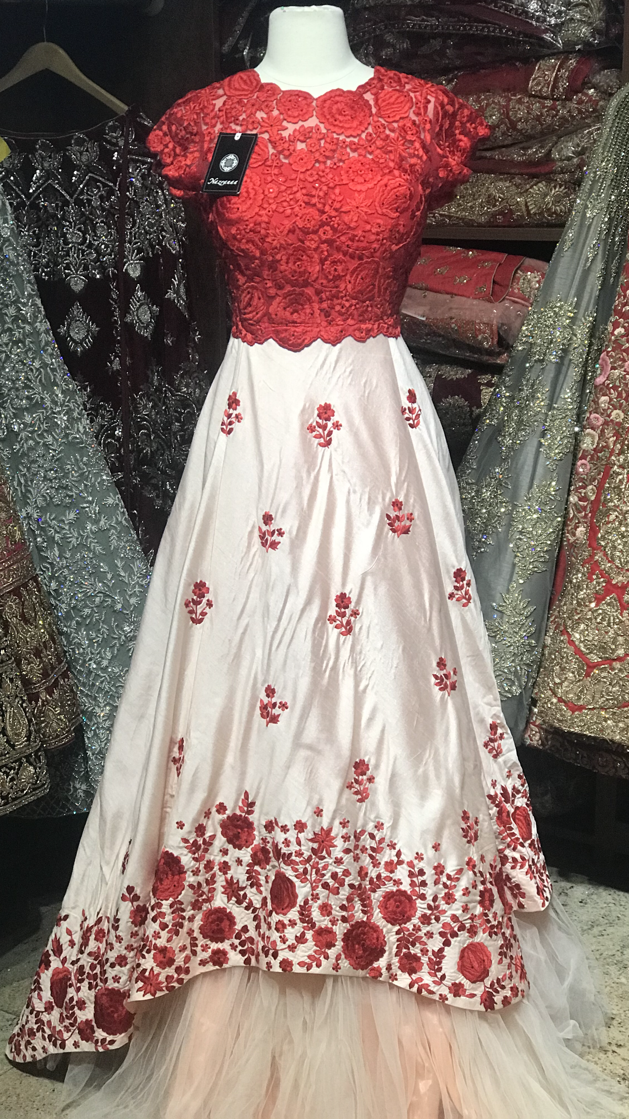 Blush Red Size 38 Floral Gown