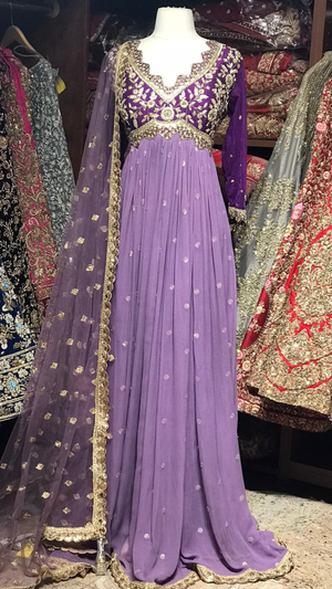Purple Size 38 Pleated Anarkali