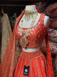 Coral Orange Bridal Wear Lehenga BWL-080