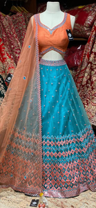Sky Blue & Orange Party Wear Lehenga PWL-091