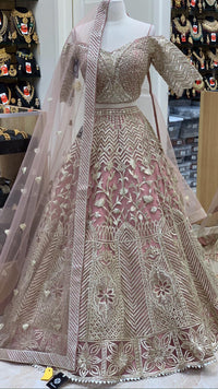 Dusty Rose Size 38 Off Shoulder Lehenga