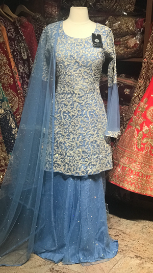 Frozen Blue Size 38 Gharara Suit
