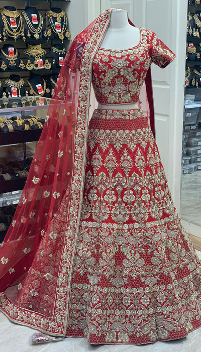 Red Silk Bridal Lehenga
