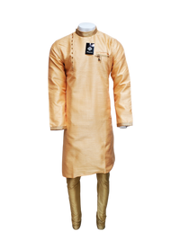 Peach Raw Silk Asymmetrical Kurta KP65